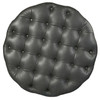 Round Button Tufted Cocktail Ottoman with Casters in Lummus Steel - DS-D108004-329