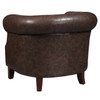 Brown Faux Leather Tufted Barrel Arm Chair - DS-D113001