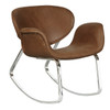 Brown Faux Leather Metal Back Rocking Chair- DS-D144-900-1