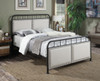 All-in-One Linen Upholstered Panel Queen Metal Bed- DS-2642-290