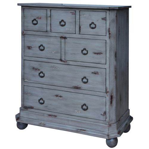 Harrison Distressed Grey 7 Drawer Chest