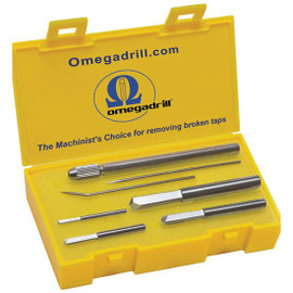 """Omegadrill OD-SET1   Omega 4pc Broken Tap Extractor Set Includes 5/64, 1/8, 3/16 & 1/4"""" USA"""