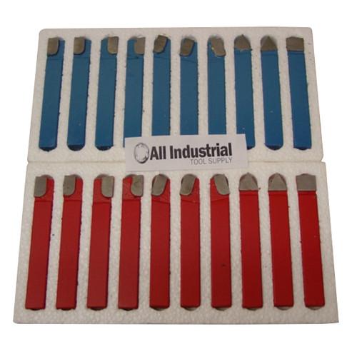 "All Industrial 19878   20pc 5/8"" C2 & C6 Carbide-Tipped Tool Bit Set Single Point Brazed Lathe Kit"
