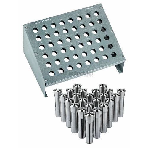 "All Industrial 41096 | 23pc R8 Collet Set 1/16"" to 3/4"" for Bridgeport With R8 Collet Rack - 48 Slot"