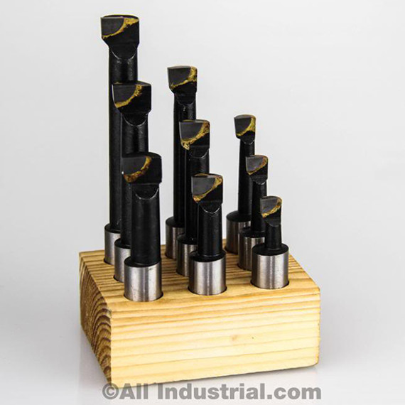 "All Industrial 11922 | 1/2"" Boring Bar Set Pro Quality 9pcs Carbide Tipped Bars 1/2"" Shank Lathe Tool"