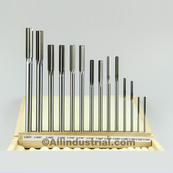 "All Industrial 10600   14pc Reamer Set Premium HSS .1240"" - .5010"" Over Under Sizes Straight Shank"