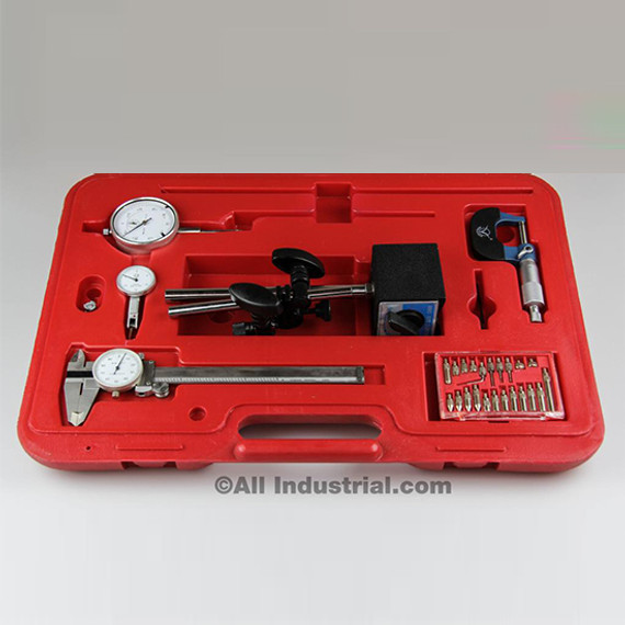 All Industrial 51902 | 6pc Machinist Starter Set Caliper Micrometer Indicator Mag Base Rules In Case