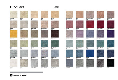 This beautifully designed fabric sample card is made using actual fabric swatches, and on the reverse, brilliantly displays all 60 color styles of the Guilford of Maine FR-701 fabric line..    FR-701 is one of the best when it comes to acoustical transparency. This fabric is also ASTM E84 (Fire Rated) Safe and approved for use in Homes, Schools, Theaters & Daycare Facilities.   Performance Content 35% post-consumer recycled polyester 65% pre-consumer recycled polyester...