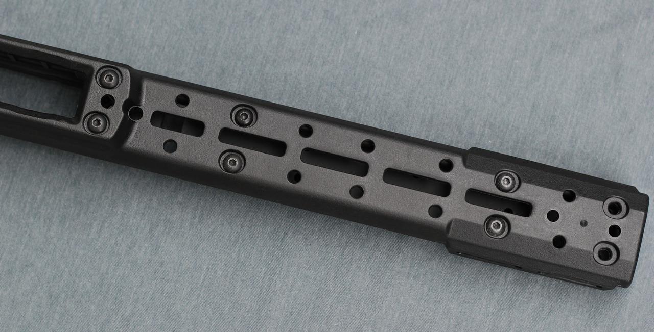 Bravo Chassis forend where ARCA Swiss adapter plates are mounted