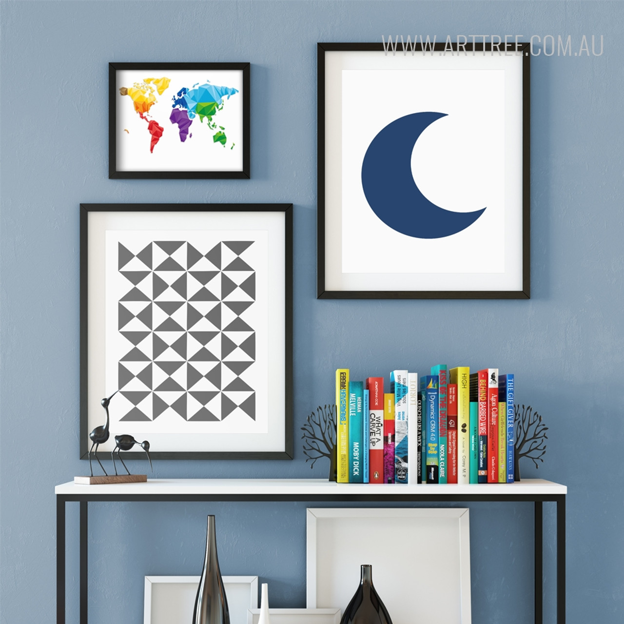 World map triangles moon arttree world map geometric triangles half moon gallery wrapped canvas prints gumiabroncs Image collections