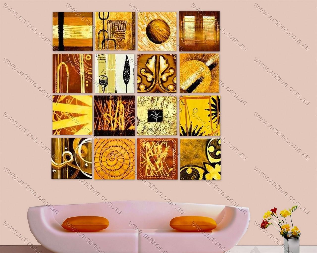 Brown Split Canvas Painting - 16 Panel - Arttree
