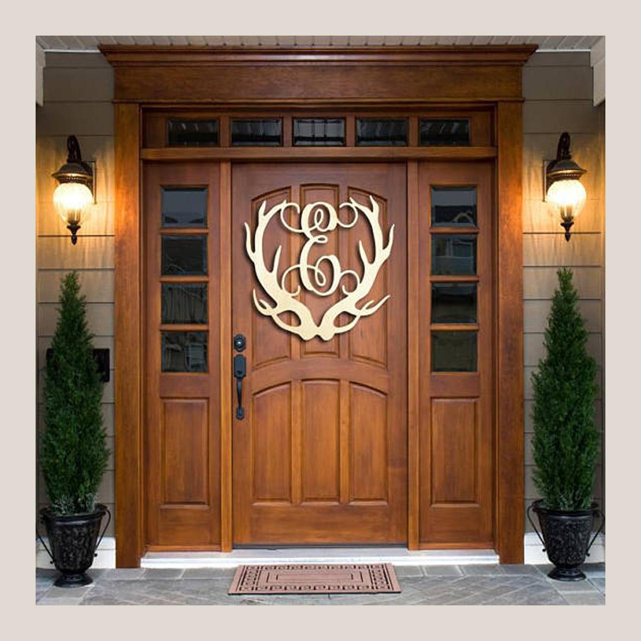 Wooden Antler Monogram Door Hanger & Christmas Antler Monogram Wreath  Holiday Decor Fast Shipping ...