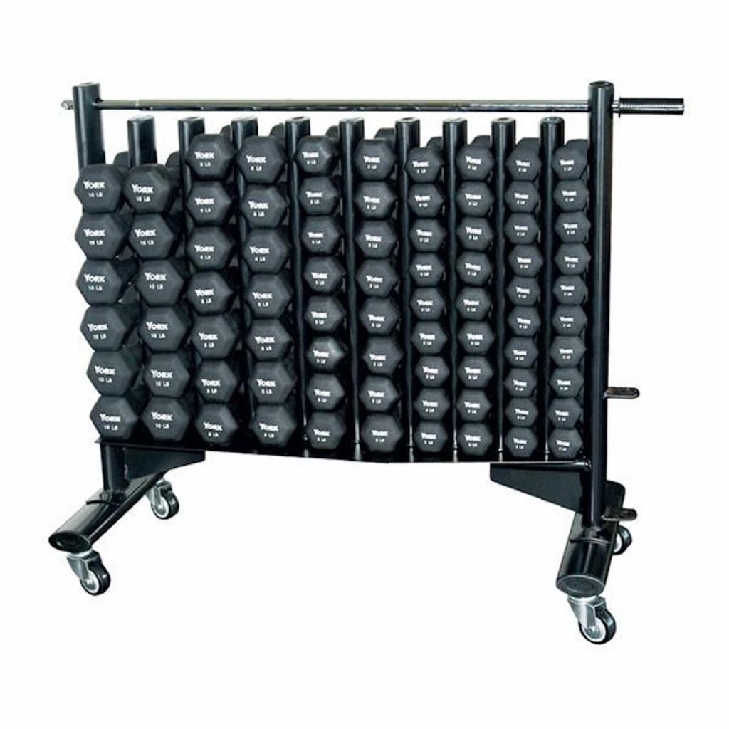 York Barbell Neoprene Covered Dumbbell Set with Rack