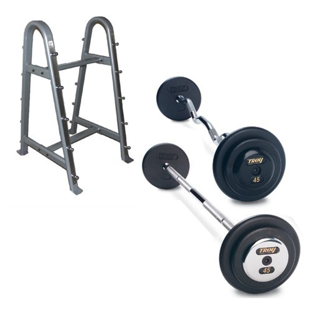 Troy Pro Style Black Barbell Set with Storage Rack