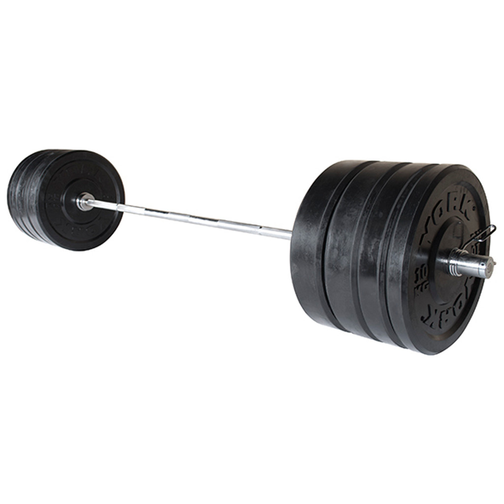 York 275 lb Solid Rubber Bumper Weight Set with Bar