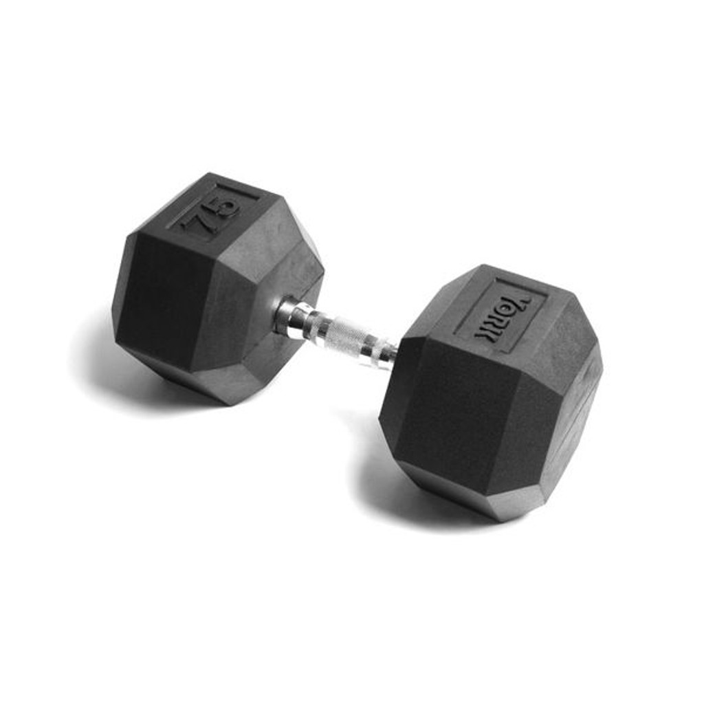 York Rubber Coated 75 lb Hex Weight