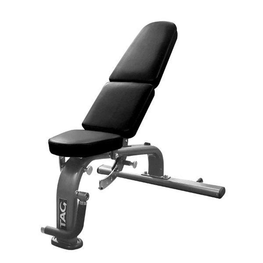 TAG Fitness Adjustable FID Workout Bench - Silver Frame
