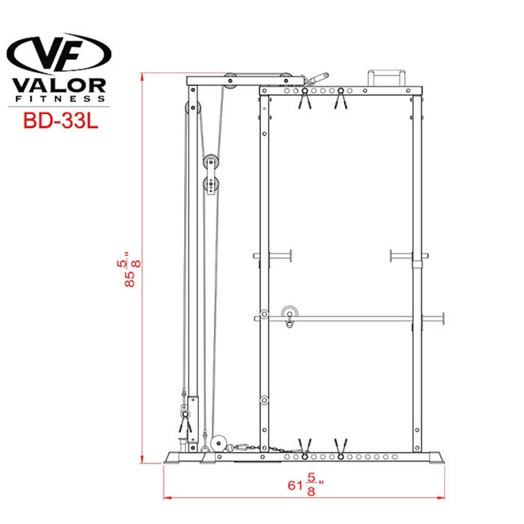 Valor Athletics Power Cage with Lat Pull Side Dimensions