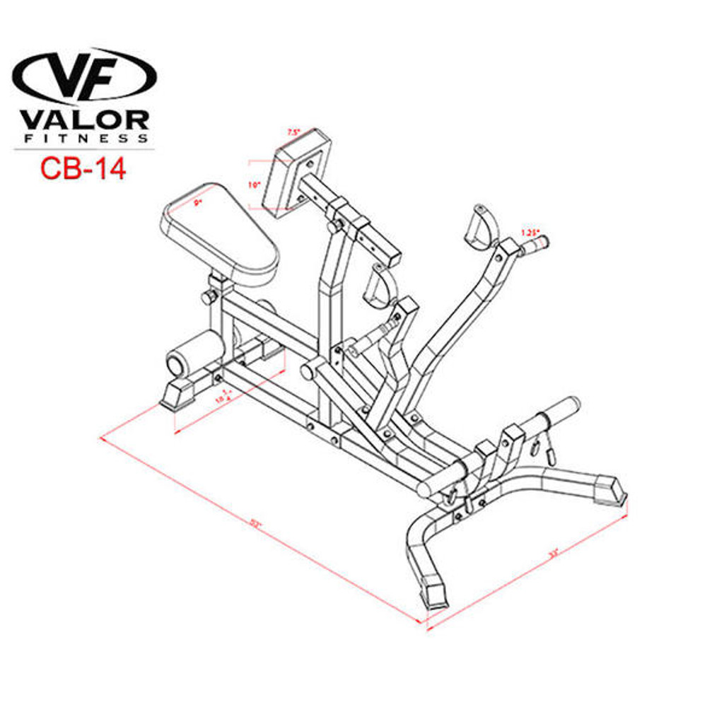 Valor Fitness CB-14 Seated Plate Load Row Dimensions