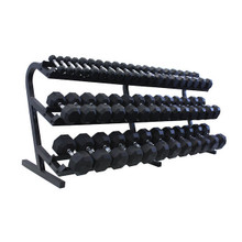 Troy Rubber Hex Dumbbell Set with Rack