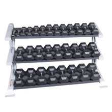 Body Solid Rubber Dumbbell Set and Rack