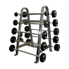 Troy Urethane Coated Barbells with Commercial Storage Rack