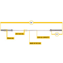 Body Solid OB86PB Olympic Bar Dimensions