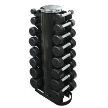 Troy TSD-R 3-25 lb Rubber Coated Dumbbells with Storage Rack