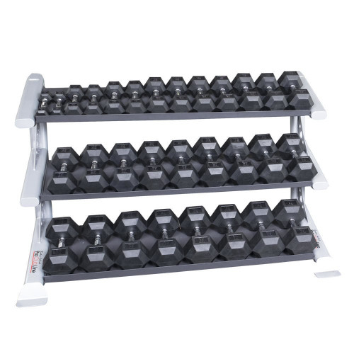 Body Solid Rubber Dumbbell Set with Rack
