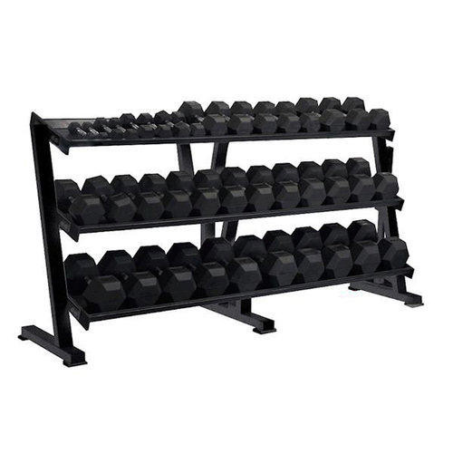 York Barbell Rubber Coated Hex Dumbbell Set with Rack
