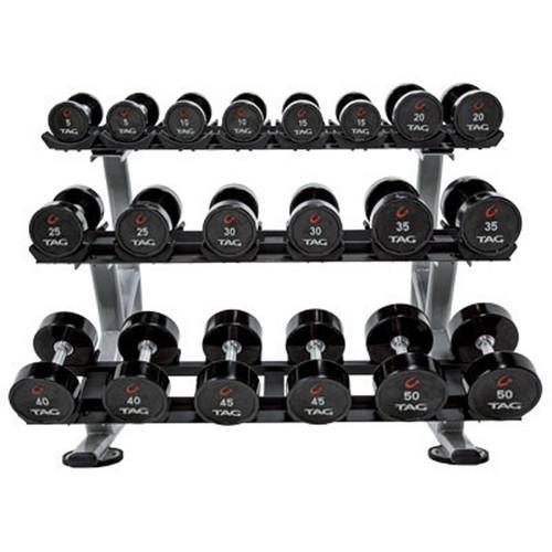 TAG Fitness Ultrathane Dumbbell Set w/ Rack