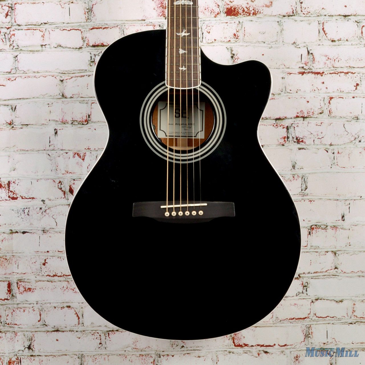 prs se angelus a10e acoustic electric guitar black