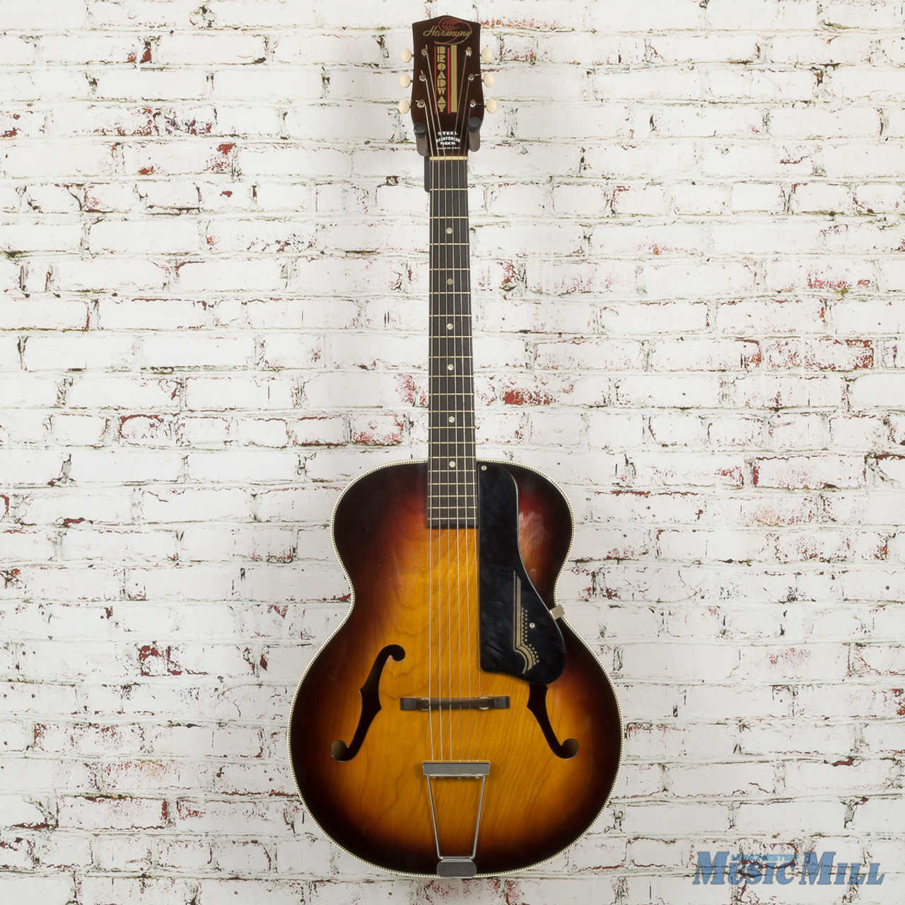 Vintage 1965 Harmony H954 Broadway Archtop Acoustic Guitar 2 Tone Sunburst