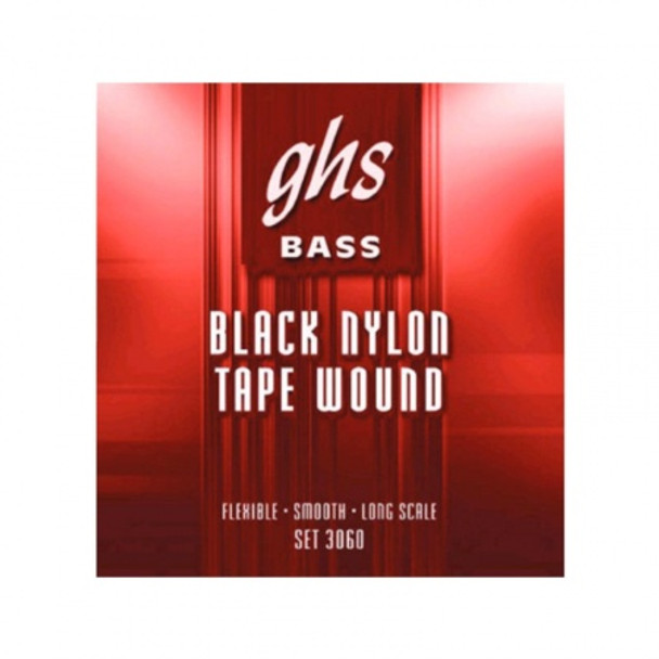 GHS Black Nylon Tape Wound Bass String Set