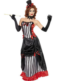 aeee531990 Ladies Small Deluxe Madame Vampire Black   White Halloween Fancy Dress  Costume