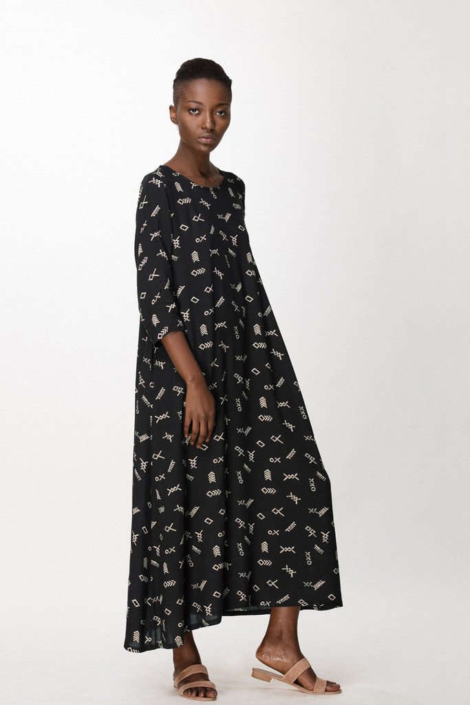 Nima Dress, Black Jot