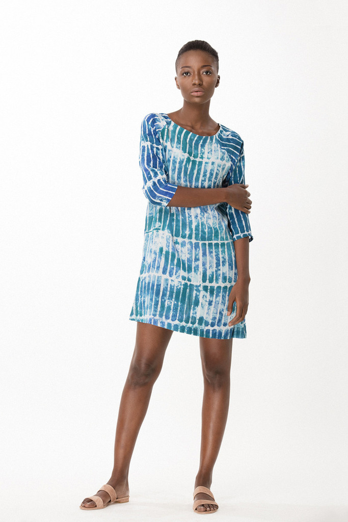 Linter Dress, Marine Chalk