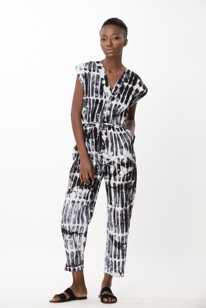 Accra Romper, Black Chalk