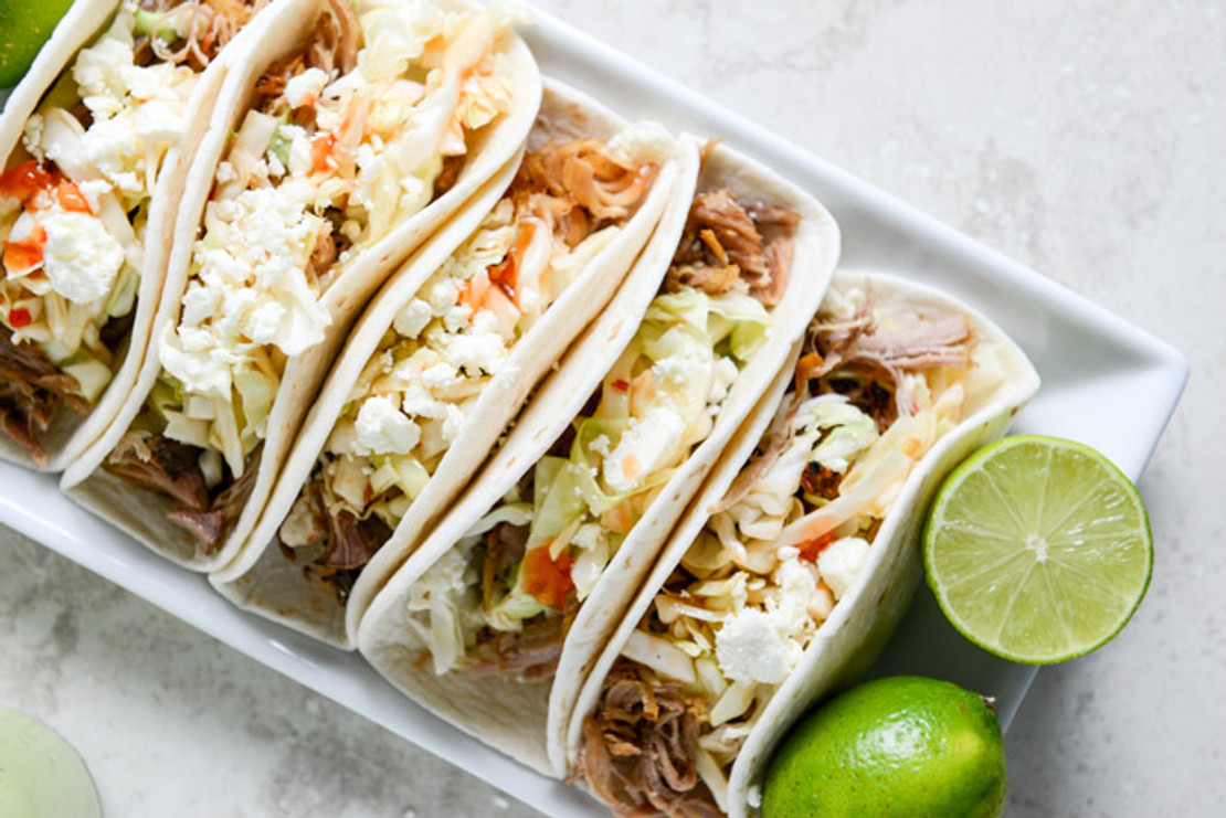 Garlic Cilantro Pulled Pork Tacos with Spicy Slaw Dressing