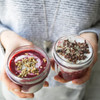 Small but mighty these are packed with good breakfast choices like coconut yogurt, chia seeds, fresh almond milk, activated buckwheat granola and seasonal fruits.