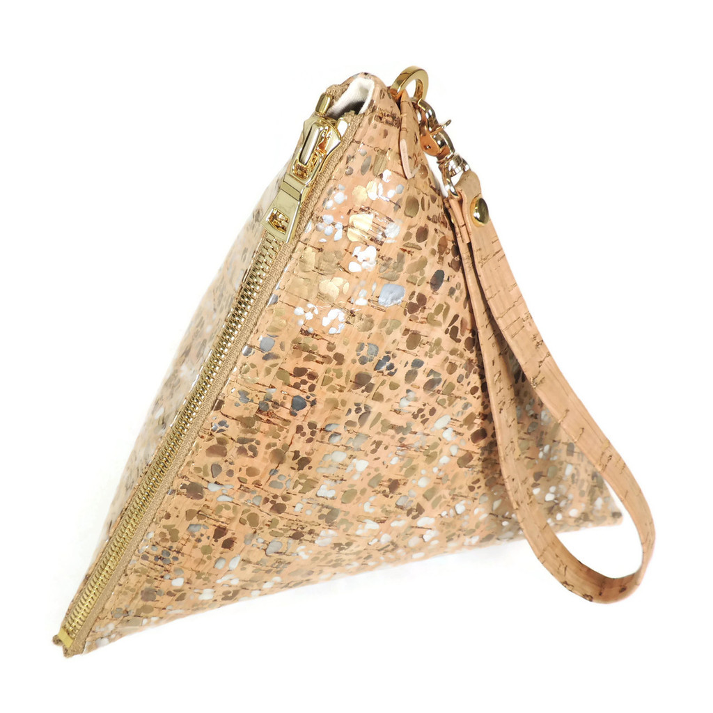 Triangle Clutch in Metallic Pebble Cork