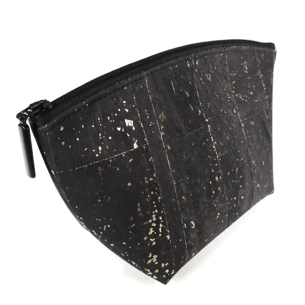 Small Standing Pouch in Black and Gold Cork