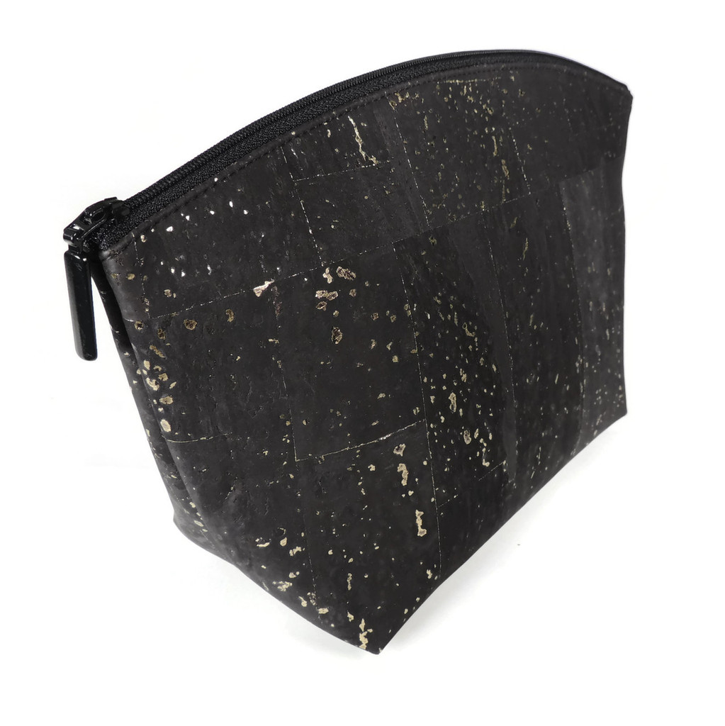 Large Standing Pouch in Black and Gold Cork