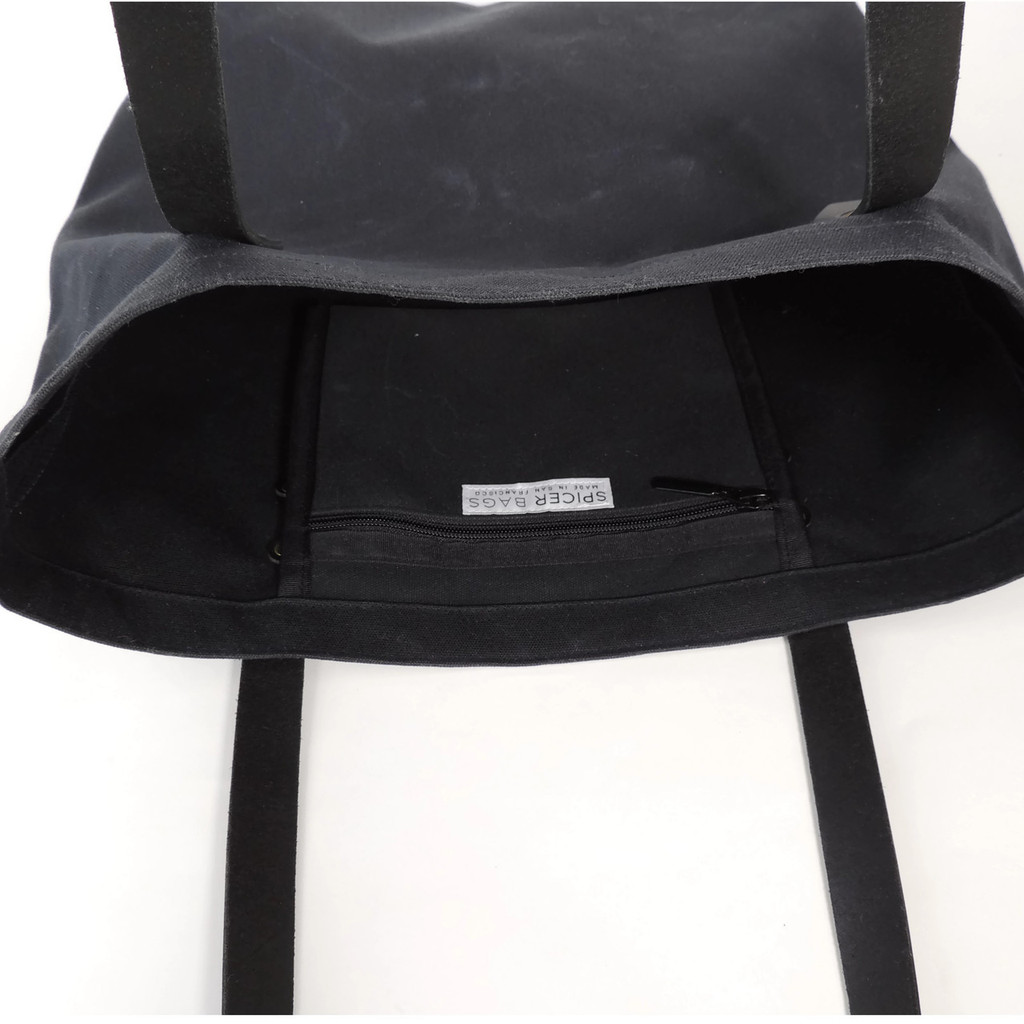 Waxed Black Canvas Market Tote with Pocket