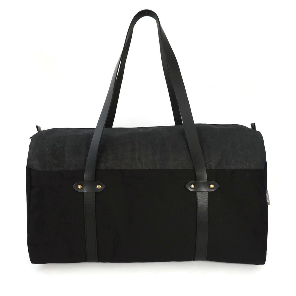 Duffle in Black Cork and Twill Canvas