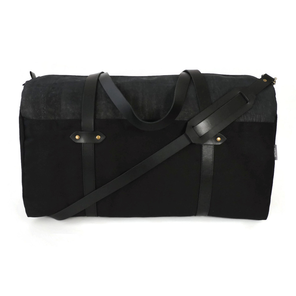 Duffle in Black Cork and Twill Canvas, with strap