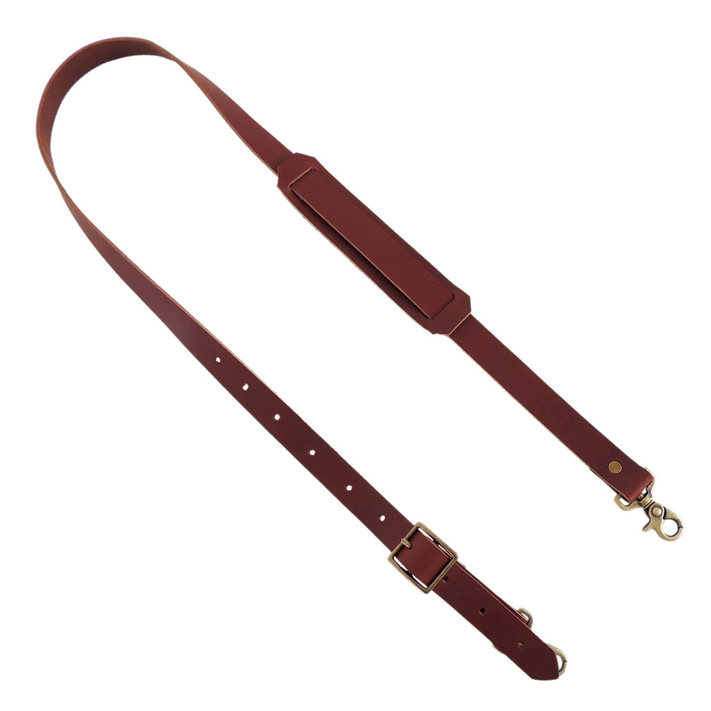 Shoulder Strap in Brown Leather with Antique Brass Hardware