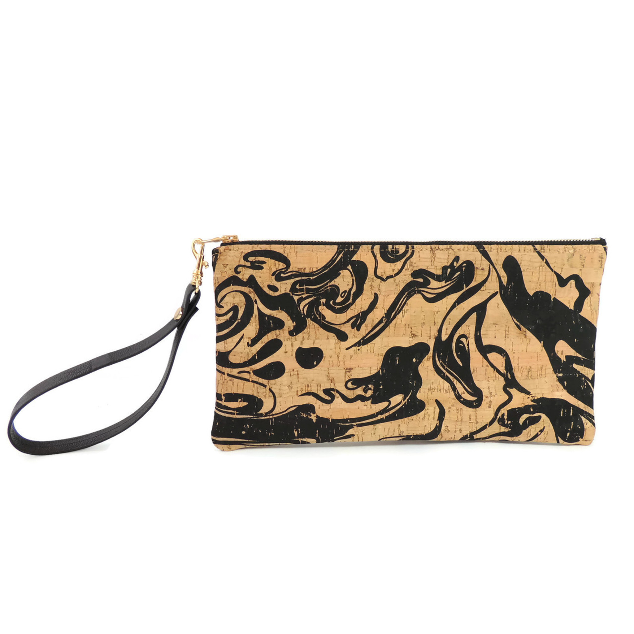 Wristlet in Black Ink Cork