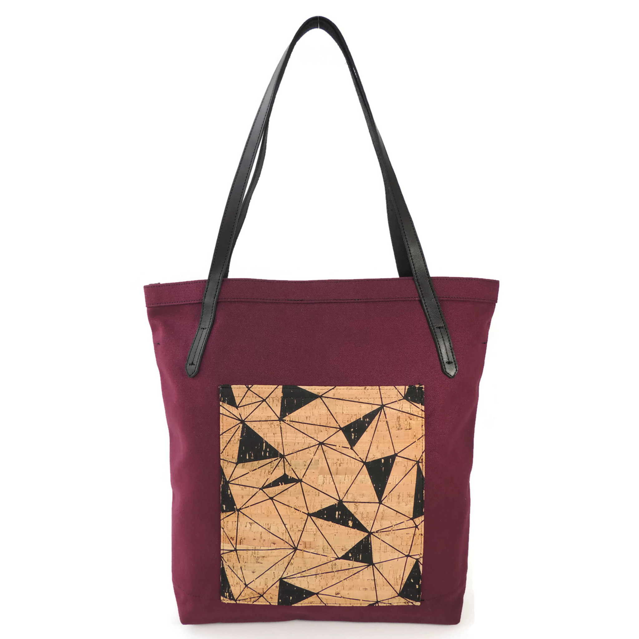 Pocket Tote in Maroon Canvas with Geo Cork