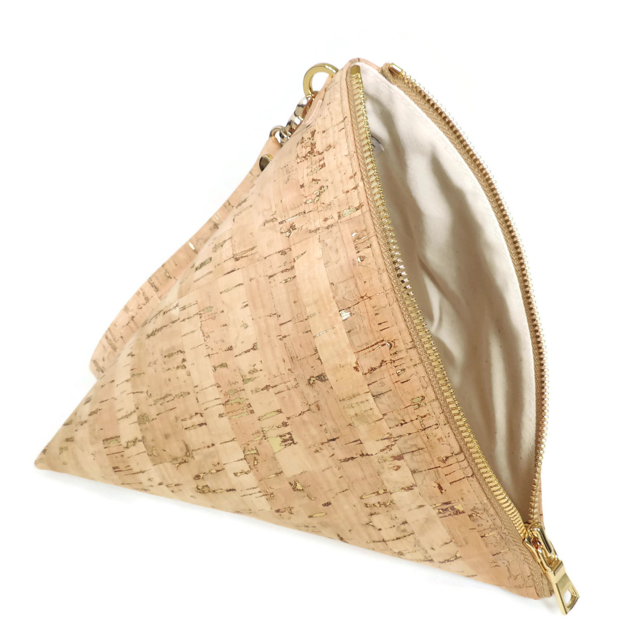 Triangle Clutch in Cork Dash Gold
